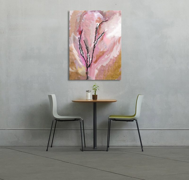 Pussy Willow Pink Orange Canvas Art print